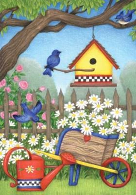 Birdhouse Daisies - Standard Flag by Toland