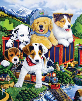 Choo Choo Puppies - 300pc Large Format Jigsaw Puzzle by Masterpieces