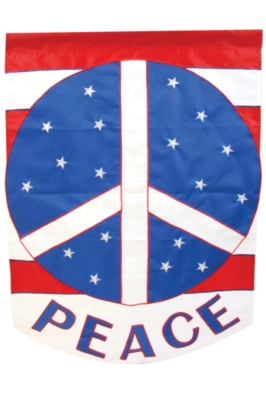 Red, White, & Blue Peace - Standard Applique Flag by Toland