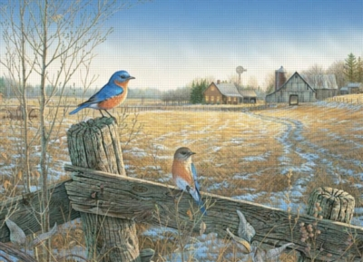 Cobble Hill Jigsaw Puzzles - Country Bluebirds
