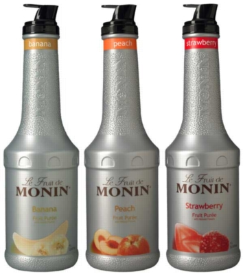Monin Fruit Puree: (Banana,Peach,Strawberry) - 1L Plastic Bottle