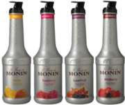 Monin Fruit Puree: (Mango,Raspberry,Superfruit,Wildberry) - 1L Plastic Bottle Assorted Case