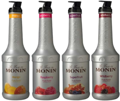 Monin Fruit Puree: (Blackberry, Raspberry, Wildberry) - 1L Plastic Bottle Assorted Case