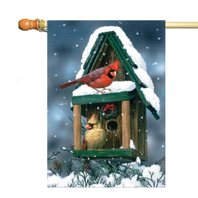 Cardinals in Snow - Standard Flag by Toland