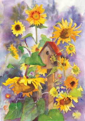 Birdhouse & Sunflowers - Standard Flag by Toland