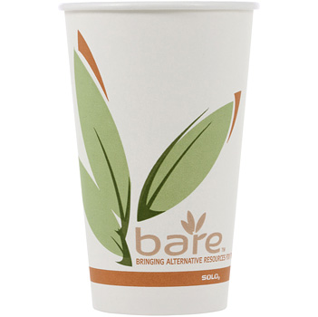 Solo Bare - EcoFriendly Recycled PCF Paper Hot Cup, 12oz, 412RCN-J8484, 1000/cs