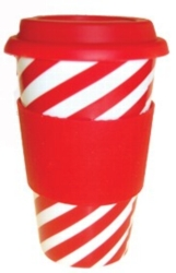 Eco Cup Holiday Edition (Red & White) - Porcelain Cup w/ Silicone Lid