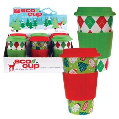 Eco Cup Holiday Edition - Porcelain Cup w/ Silicone Lid - Assorted Case of 6