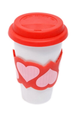 Eco Cup, Love Edition - Porcelain Cup w/ Silicone Lid