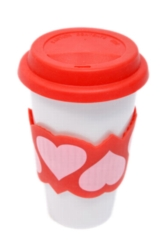 Eco Cup, Love Edition -  Porcelain Cup w/ Silicone Lid Case