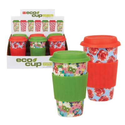 Eco Cup Floral & Rose Edition - Porcelain Cup w/ Silicone Lid - Assorted Case of 6