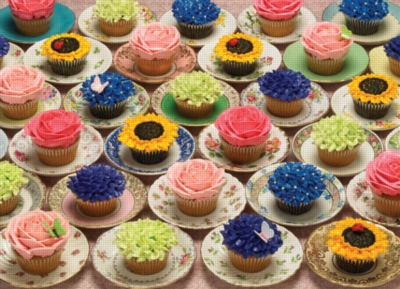 Cobble Hill Jigsaw Puzzles - Cupcakes and Saucers