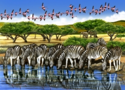 Cobble Hill Jigsaw Puzzles - Zebras and Flamingoes
