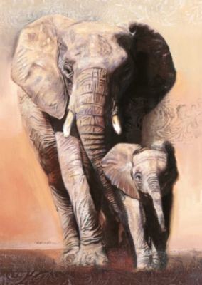 Elephant Family - 1000pc Textured Jigsaw Puzzle By Ravensburger