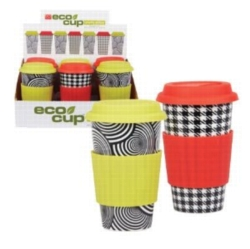 Eco Cup Black & White Edition - Porcelain Cup w/ Silicone Lid - Assorted Case of 6