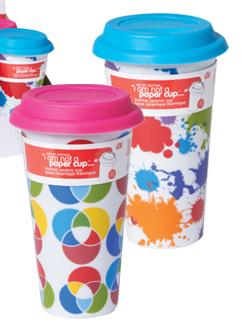 "&quotI Am Not A Paper Cup"" Creative Kitchen Edition - Thermal Double Walled Porcelain Cup w/ Silicone Lid - Assorted Case of 6"