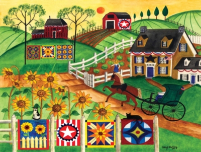 Country Sunflower Quilt Farm - 300pc Large Format Jigsaw Puzzle by Masterpieces