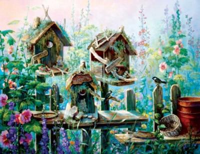 Large Format Jigsaw Puzzles - Birdhouse Row
