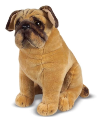 "Pug - 18"" High, Sitting Plush Dog by Melissa & Doug"