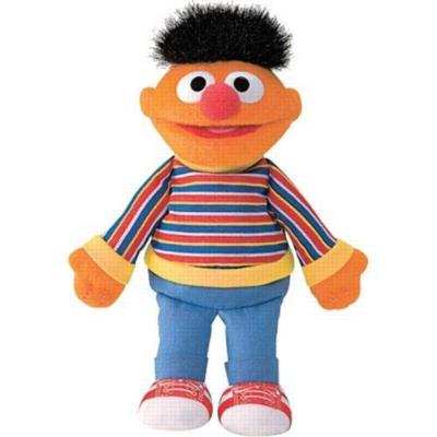 """Ernie Beanbag - 6.5"""" Sesame Street By Gund"""