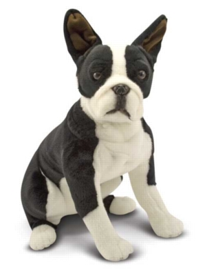 "Boston Terrier - 21"" High, Sitting Plush Dog by Melissa & Doug"