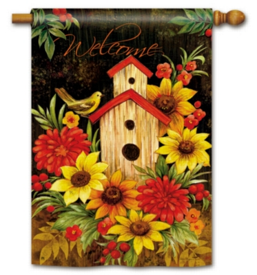 Autumn Birdhouse - Standard Flag by Magnet Works