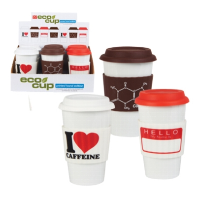 Eco Cup Printed Band Edition - I Heart Caffeine - Porcelain Cup w/ Silicone Lid - Assorted Case of 6