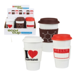 Eco Cup Printed Band Edition, Assortment 1 - Porcelain Cup w/ Silicone Lid - Assorted Case of 6