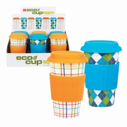 Eco Cup Patterned Edition - Porcelain Cup w/ Silicone Lid - Assorted Case of 6