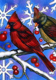 Birds 'N Snowflakes - Standard Flag by Toland