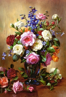 Jigsaw Puzzles - Roses in a Blue Vase