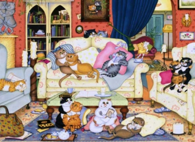 Cats In The Sitting Room - 1000pc Jigsaw Puzzle by Anatolian