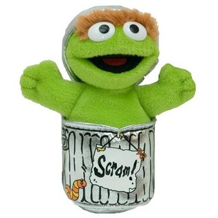 "Oscar the Grouch Beanbag - 5"" Sesame Street By Gund"