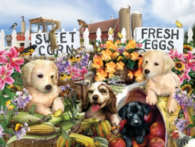 Large Format Jigsaw Puzzles - Puppies on the Farm
