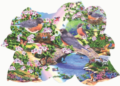 Shaped Jigsaw Puzzles - Robins in the Park