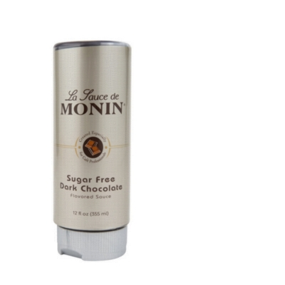 Monin Gourmet Sugar Free Dark Chocolate Sauce - 12 oz. Squeeze Bottle