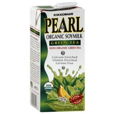 Pearl Organic Soy Milk: Green Tea - 32oz Carton