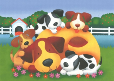Jigsaw Puzzles for Kids - Doggie Family