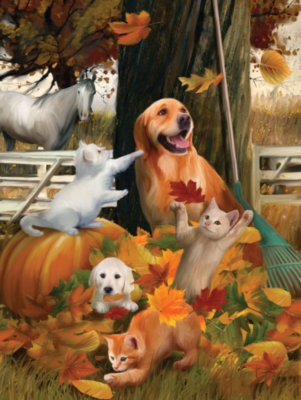 Large Format Jigsaw Puzzles - Playing in Fall Leaves