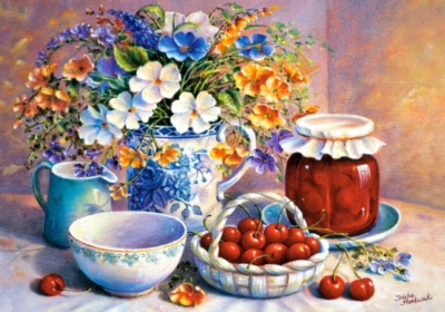 Jigsaw Puzzles - Cherries in China Basket