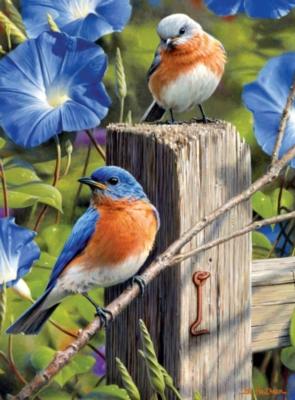 Jigsaw Puzzles - Hautman Brothers: Garden Gate Bluebirds