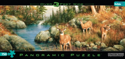 Panoramic Jigsaw Puzzles - Hautman Brothers: Deer and Pines