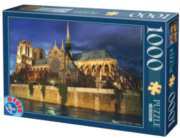 Notre Dame at Night  - 1000pc Jigsaw Puzzle by D-Toys