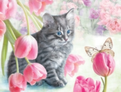 White Mountain Cat & Tulips Jigsaw Puzzle