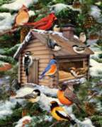 White Mountain Log Cabin Birdhouse Jigsaw Puzzle