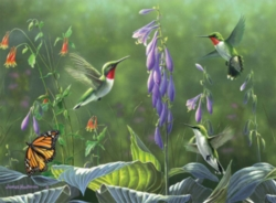 Buffalo Games Hummingbirds and Hosta by Hautman Jigsaw Puzzle