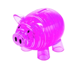 BePuzzled Piggy Bank Pink 3D Crystal Puzzle