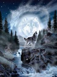 Andrews + Blaine Al Agnew Moon Wolf Jigsaw Puzzle