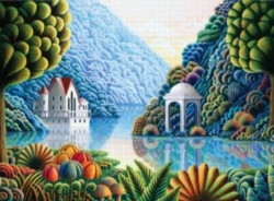 Andrews + Blaine Andy Russell Teal Lake Jigsaw Puzzle