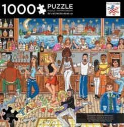 Andrews + Blaine Charles Fazzino Manhattan, Martini's & Moonlight Jigsaw Puzzle